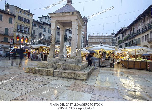 Verona Veneto on November 23, 2019 Christmas in the Piazza delle Erbe