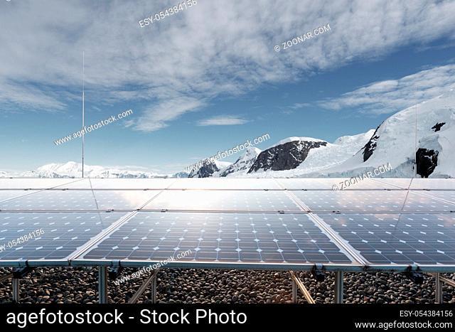 solar energy with snow mountain