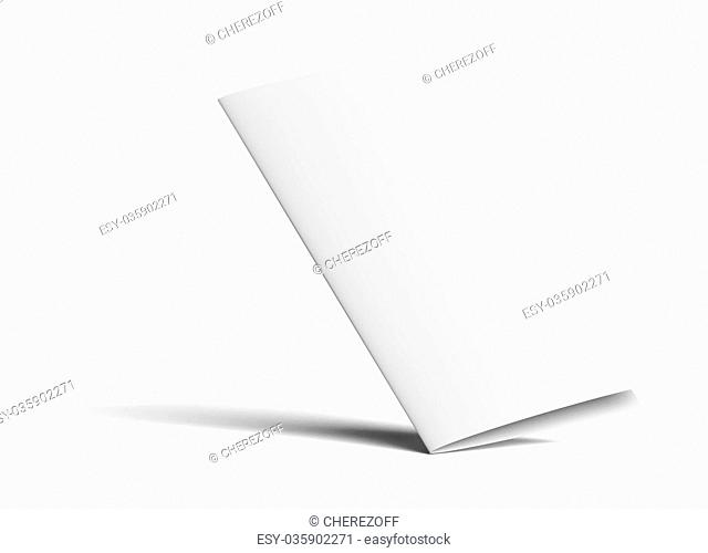 Stationary positioned two fold paper brochure