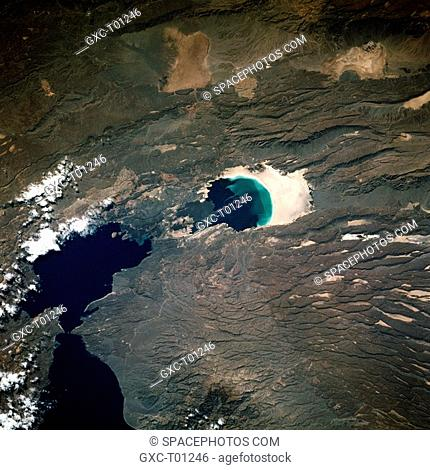 This near-vertical photograph shows Lake Assal, the third lowest surface in the world excluding the ocean basins and the lowest point in Africa at 510 feet 155...