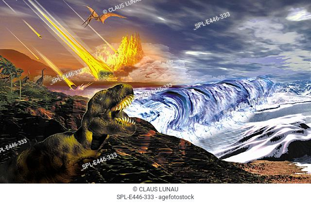 Dinosaur extinction. Computer illustration of dinosaurs watching fragments of a large asteroid colliding with Earth. Such an impact is believed to have led to...