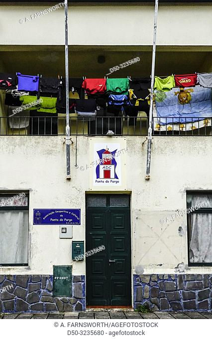 Ponta do Pargo, Madeira, Portugal The local soccer team and their clothing hang out to dry