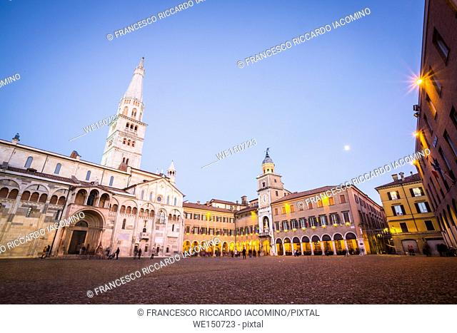 Modena, Emilia Romagna, Italy. Piazza Grande and Duomo Cathedral at sunset