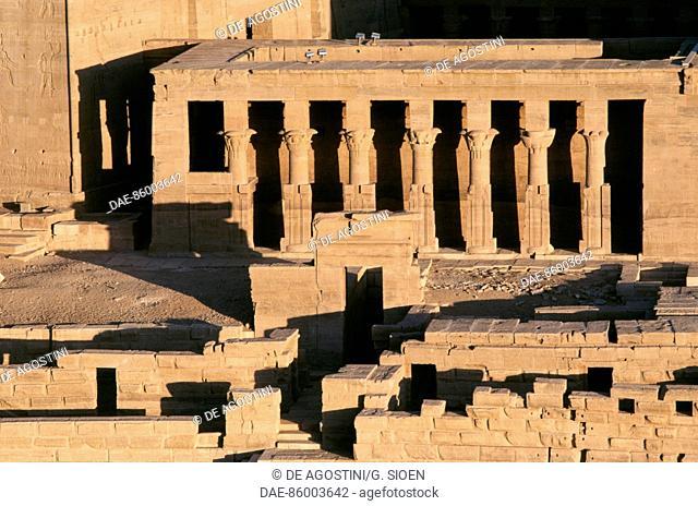 Mammisi of Horus, Temple of Isis at Philae (UNESCO World Heritage List, 1979), Agilkia Island, Aswan, Egypt. Egyptian civilisation