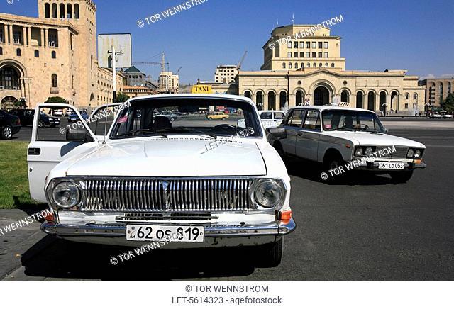 Taxi cabs at the Republic Square in Yerevan. Armenia