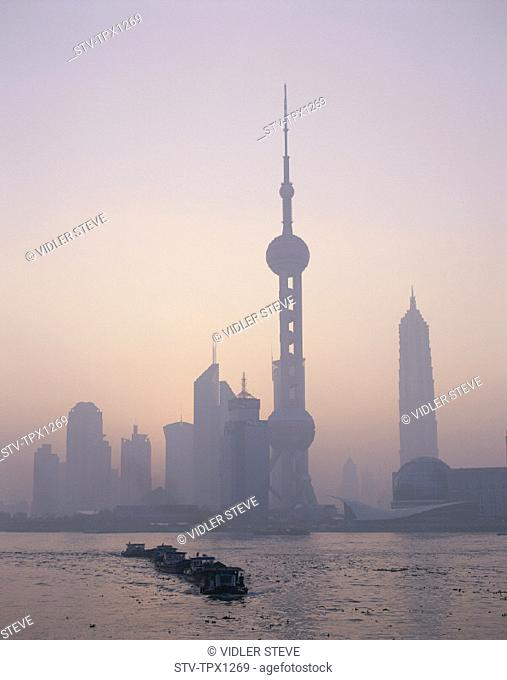 Asia, China, Holiday, Huangpu, Landmark, Oriental pearl tower, Pudong, River, Shanghai, Skyline, Skyscrapers, Sunrise, Tourism