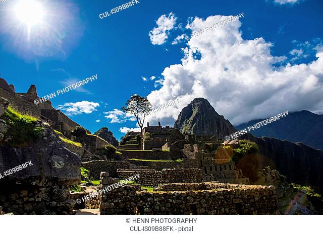 Elevated view of inca ruins, Machu Picchu, Cusco, Peru, South America