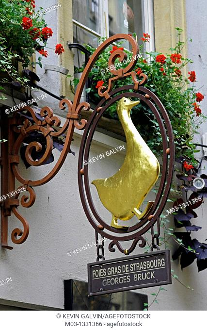 France Alsace Strasbourg street scene signs restaurant cafe sign fois gras with duck