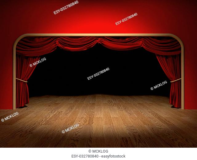 Render of the curtains of a theatre