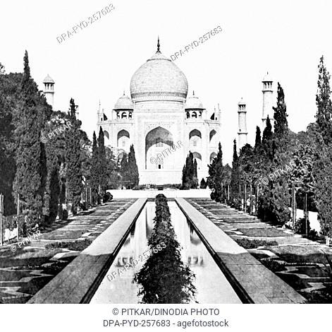 old vintage lantern slide of taj mahal, Agra, uttar pradesh, India, Asia