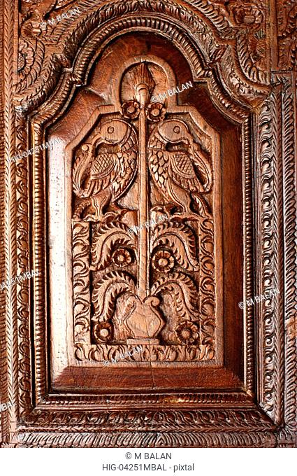 TRADITIONAL WOODEN CARVED DOOR OF SOUTH INDIA