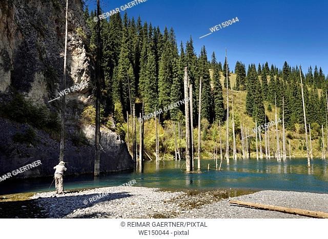 Photographer at Kaindy river Gorge to Kaindy Lake with Spruce trees Kazakhstan