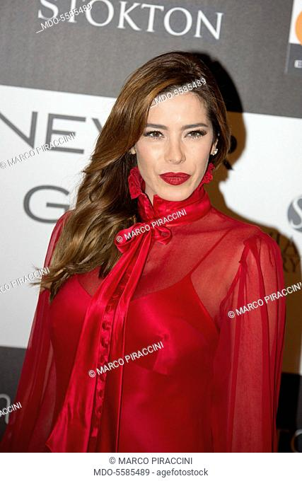 The showgirl Aida Yèspica attending the charity gala Never Give Up at The Westin Palace of Milan. Milan, Italy. 4th April 2017