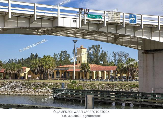 Historic Venice Seaboard Air Line Railway Station also known as the Venice Train Depot though the Venice Ave Bridge in Venice, Florida, United States