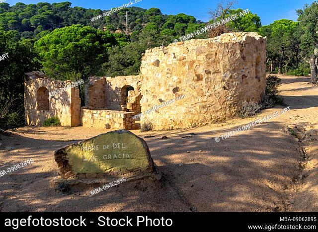 Europe, Spain, Catalonia, Costa Brava, ruin of an ancient fortification in the mountain forest of the Massís de les Cadiretes