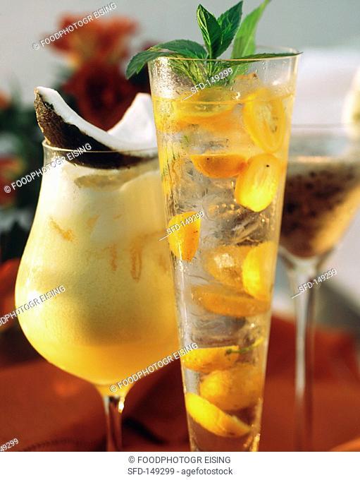 Three cocktails: Kumcai, Exotic surprise & Batida de Coco