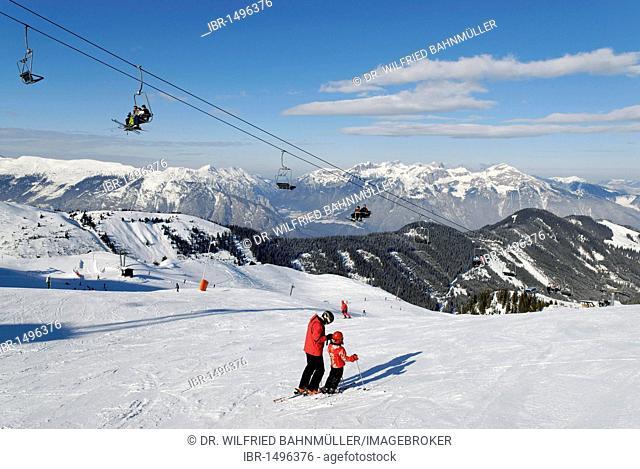 Spieljoch skiing area near Fuegen, Zillertal, Tyrol, Austria, Europe