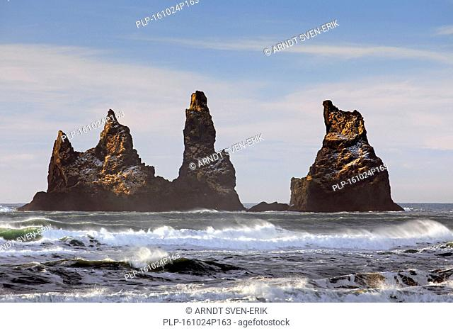 Reynisdrangar, basalt sea stacks near the village Vík í Mýrdal, southern Iceland