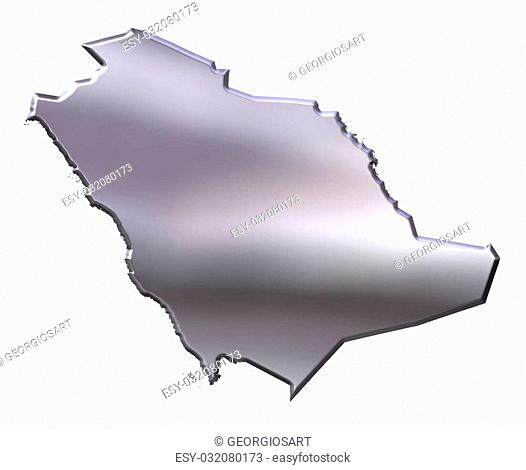 Saudi Arabia 3d silver map isolated in white