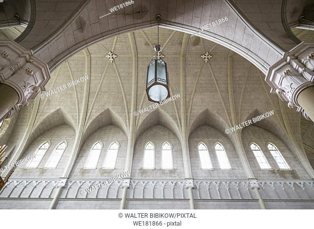 Canada, Nova Scotia, French Shore Area, St. Bernard, Eglise St-Bernard church, built between 1910 and 1942, vaulted interior