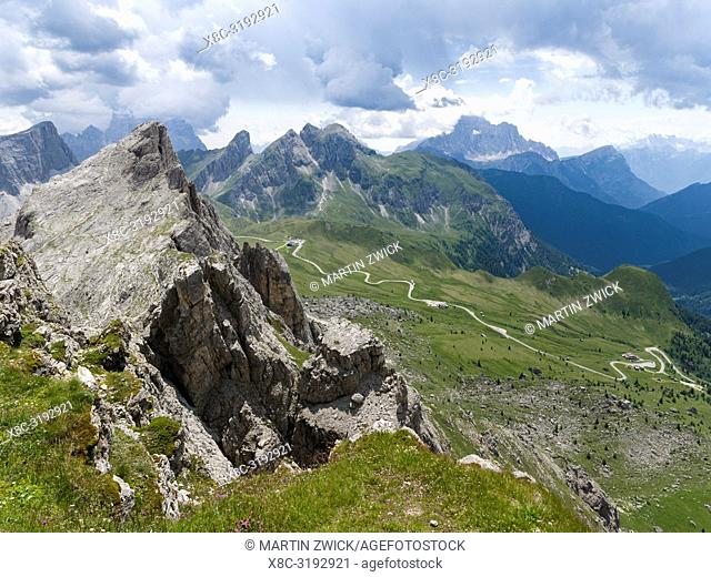 Dolomites at Passo Giau. View from Nuvolau towards Monte Cernera and Monte Mondeval. The Dolomites are part of the UNESCO world heritage