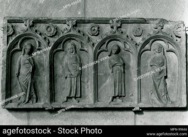 Four Figures Under an Arcade. Date: first half 14th century; Culture: South Netherlandish; Medium: Stone; Dimensions: Overall: 20 x 40 1/4 in. (50