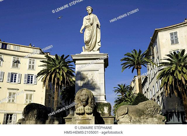 France, Corse du Sud, Ajaccio, Foch square, Napoleon Bonaparte statue