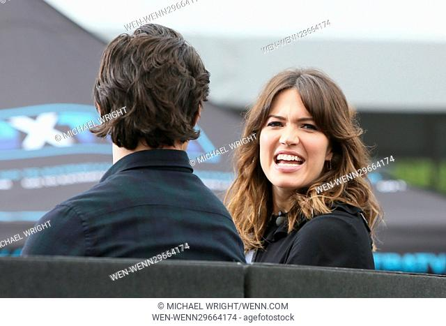 Mandy Moore and Milo Ventimiglia seen at Universal studios where they were interviewed by Charissa Thompson for television show Extra Featuring: Mandy Moore