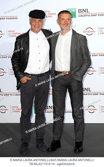 The director Michele Placido and Stefano Massini, screenwriter during the photocall of the film 7 Minuti. 11th Rome Film Festival. Rome. Italy