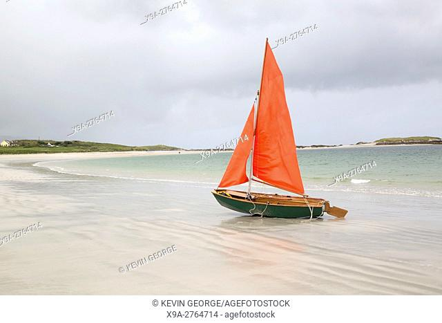 Sailing Boat on Glassillaun Beach, Connemara; Galway; Ireland
