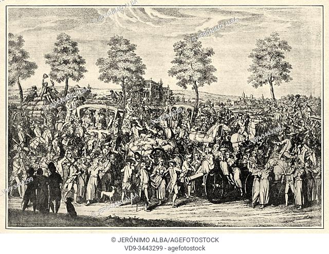The return of the king Louis XVI and the royal family to Paris. French Revolution 18th century. History of France, old engraved illustration image from the book...