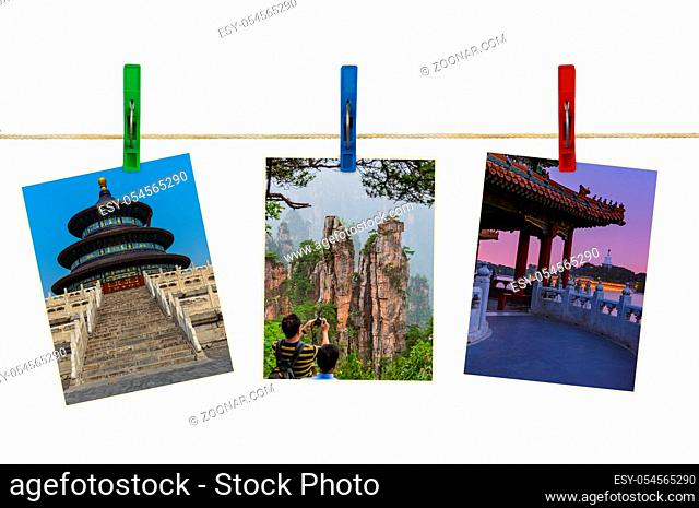 China images (my photos) on clothespins isolated on white background