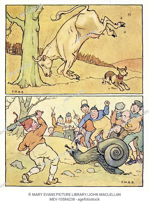 Nursery Rhymes -- two illustrations. Above -- a little dog runs away as a bull runs into a tree. Below -- people throw sticks and stones at a giant snail...