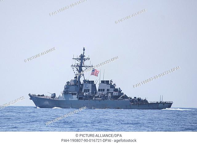 07 August 2019, Israel, Haifa: American military ship sails during a multi military forces drill. Israeli Defence Forces in cooperation with US