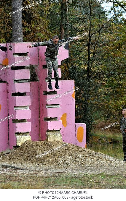 Polytechinic student on military experience exercising on the obstacles of the assault course November 2, 2010