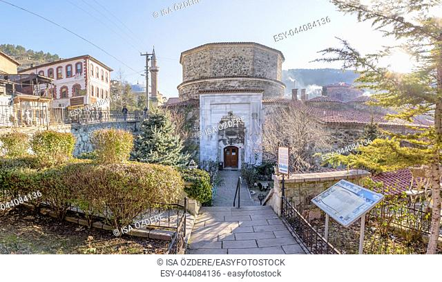 Exterior view of Yildrim Bayezid Hammam, Turkish Bath, in Mudurnu district, Bolu Turkey. 27 January 2018