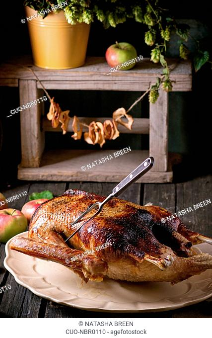 Roast stuffed goose with meat fork in on ceramic plate with ripe apples over wooden kitchen table. Dark rustic style