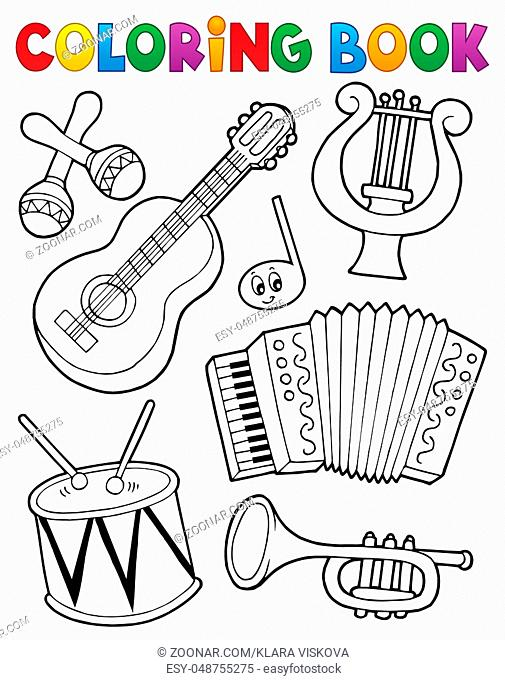 Coloring book music instruments 1 - picture illustration