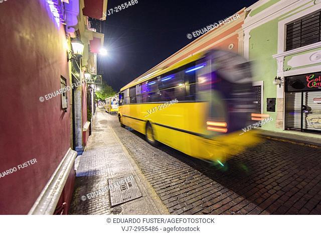 Bus in the historic center, Merida, Riviera Maya, Yucatan Province, Mexico, Central America