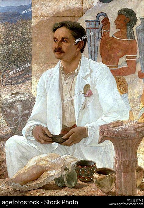 Richmond William Blake - Sir Arthur Evans Among the Ruins of the Palace of Knossos - British School - 19th Century