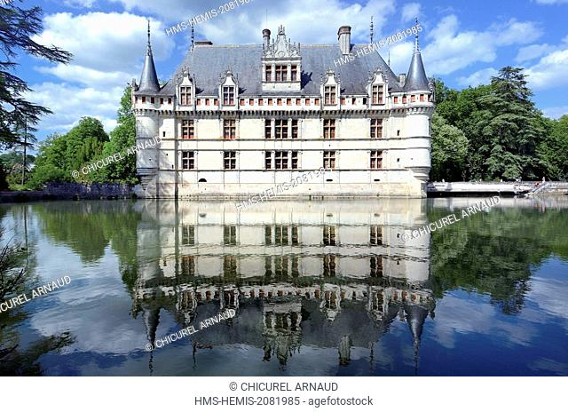 France, Indre et Loire, Loire valley listed as World Heritage by UNESCO, the castle of Azay le Rideau