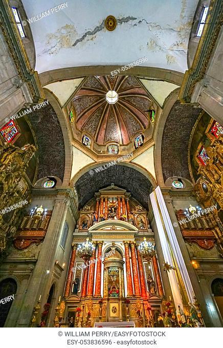 Dome Basilica Altar Santo Domingo Church Mexico City Mexico. Church first built in the 1500s