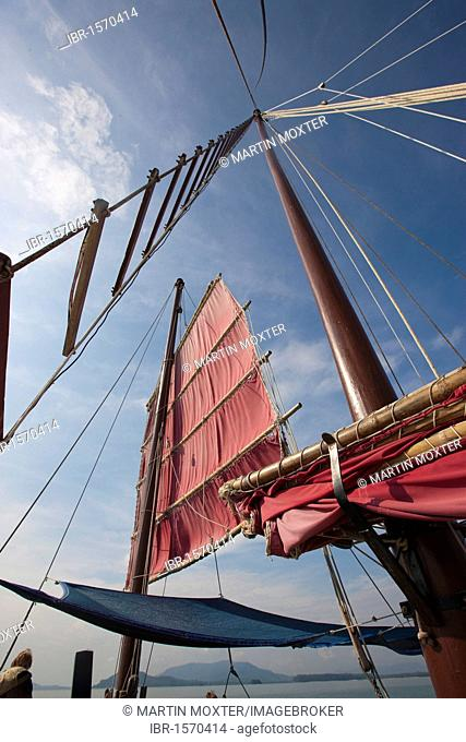 Sails and rigging of a junk, Phang Nga Bay, Phuket, Thailand, Southeast Asia, Asia
