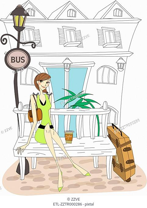 Portrait of woman sitting on bench with luggage