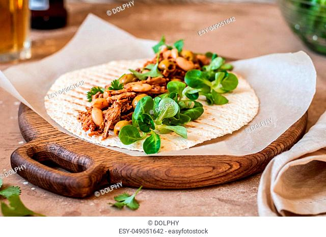 Tomato, Bean and Olive Pulled Pork Tortilla Wraps