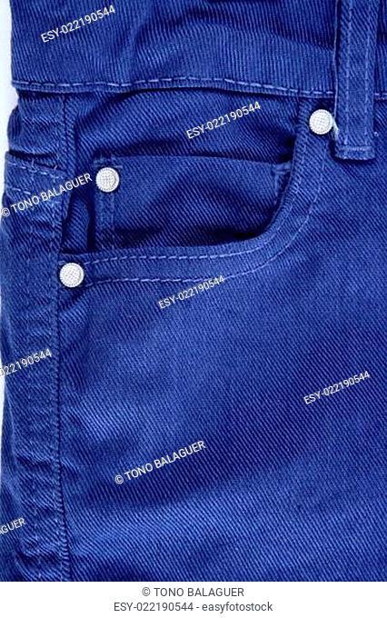 Denim blue jeans pocket detail closeup texture