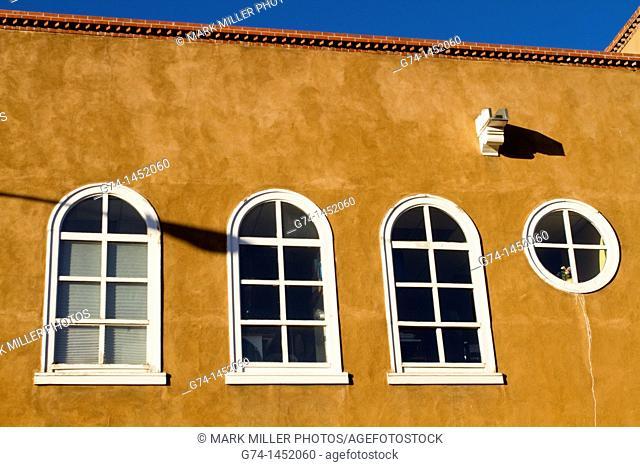 Adobe Detail and Windows, Santa Fe, New Mexico, USA