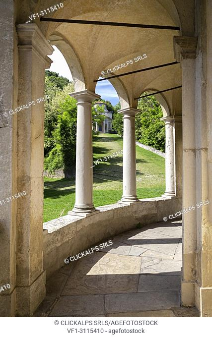 View of the chapels and the sacred way of Sacro Monte di Varese, Unesco World Heritage Site. Sacro Monte di Varese, Varese, Lombardy, Italy