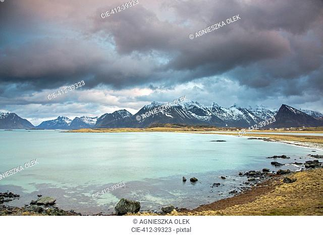 Mountain view behind ocean, Lofoten, Norway