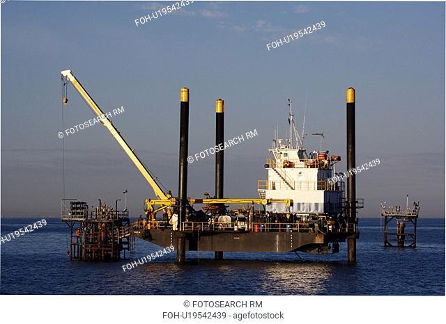 Liftboat Performing Production Platform Maintenance